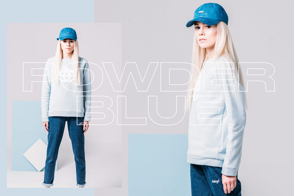 Elade Grl — dámská mikina bez kapuce — pastelová světle modrá — streetwear fashion