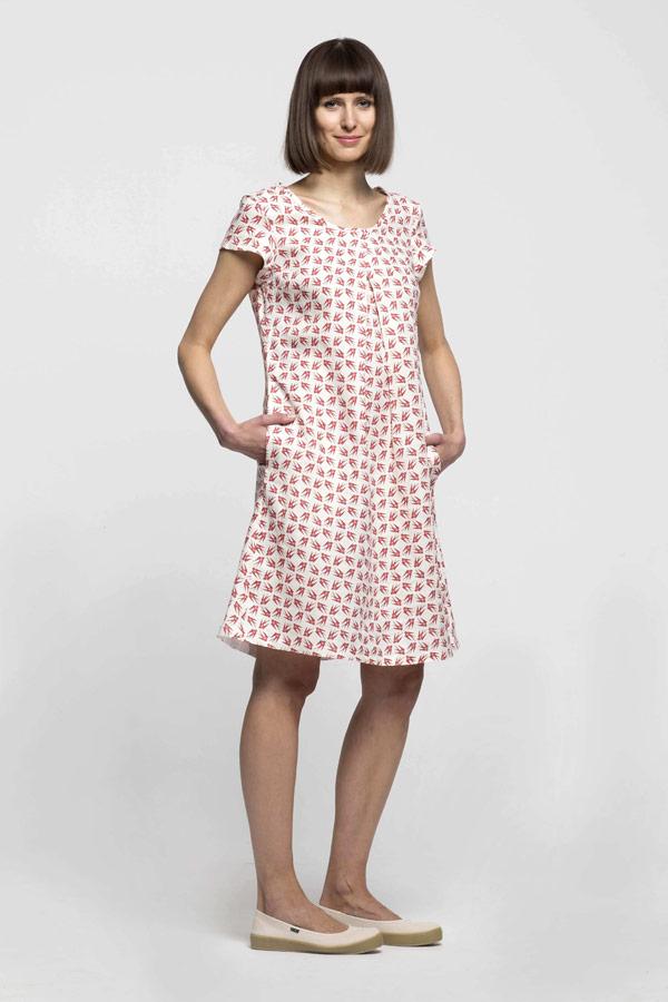 K.BANA — dámské letní šaty nad kolena — lněné — červený vzor, vlaštovky