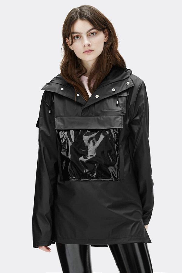 Rains — dámský anorak s kapucí — nepromokavý — černý — bunda bez zipu, přes hlavu — womens black anorak — Expressions