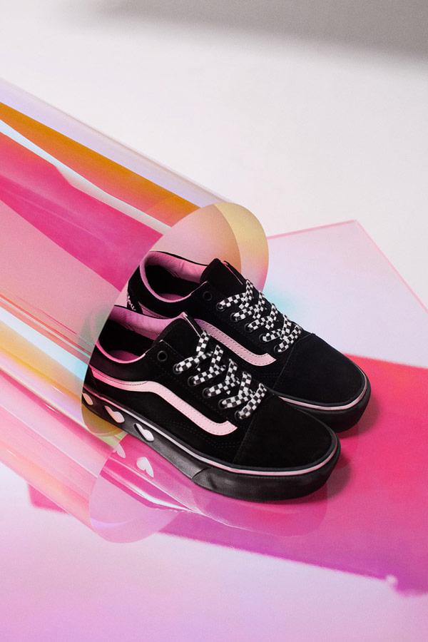 Vans x Lazy Oaf — černé boty Old Skool Platform — dámské tenisky na platformě