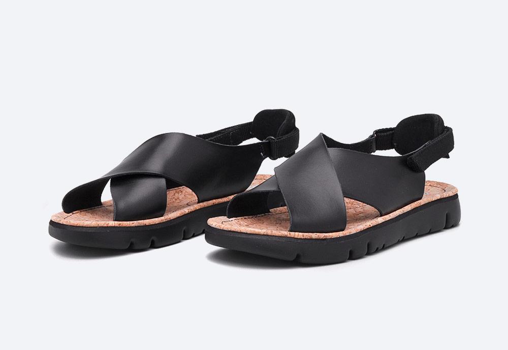 Camper — Oruga — dámské sandály — letní — černé — kožené