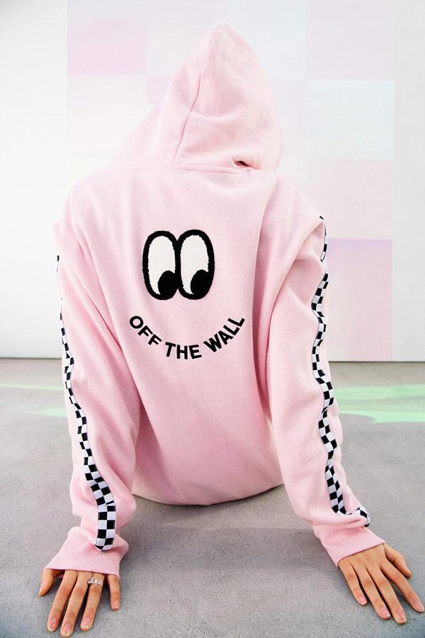 Vans x Lazy Oaf — dámská růžová mikina s kapucí Of The Wall Lazy Hodie