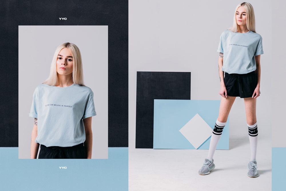 Elade Grl — dámské černé kraťasy, šortky — dámské světle modré tričko — streetwear fashion