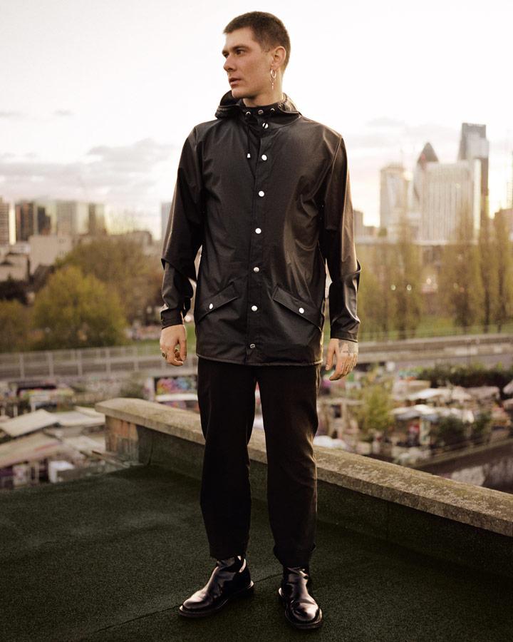 Rains — pánská nepromokavá bunda s kapucí — černá — mens rain jacket — Expressions