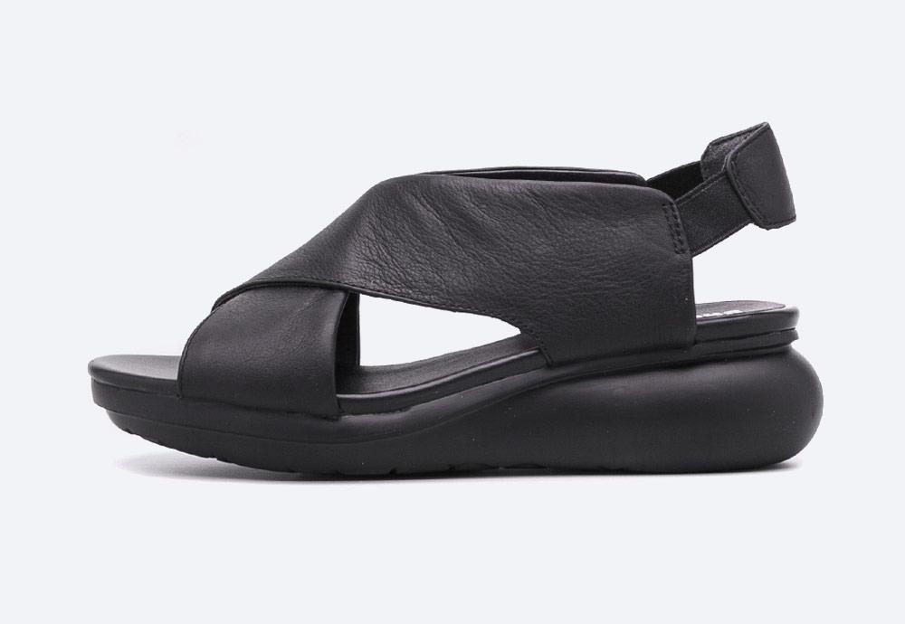 Camper — Balloon — sandály na platformě — dámské — letní — černé — kožené