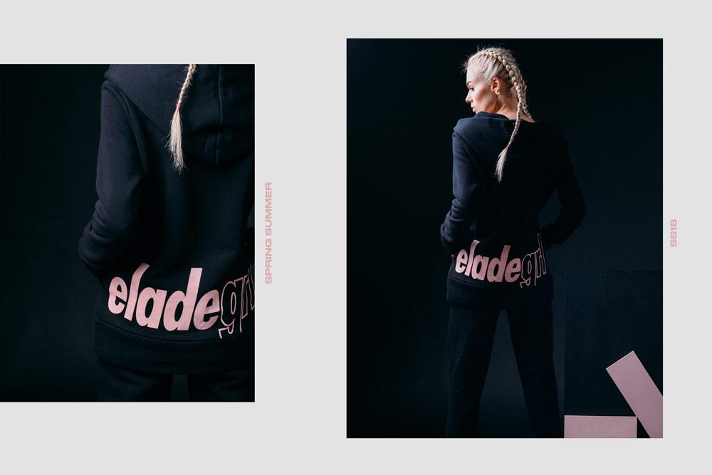 Elade Grl — černá mikina s kapucí — dámská — streetwear fashion
