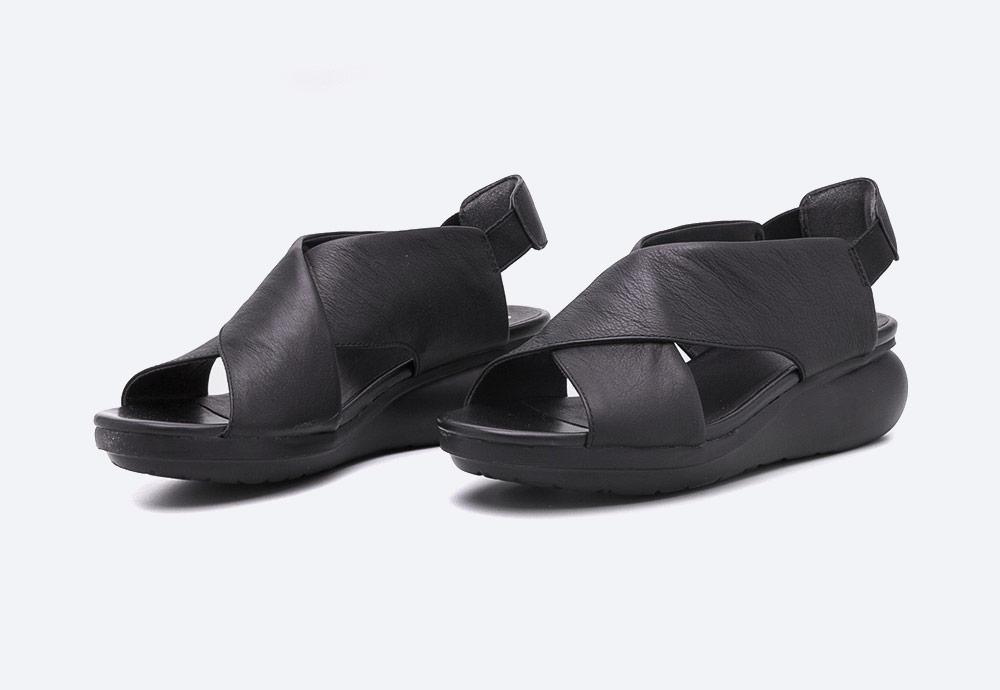 Camper — Balloon — dámské sandály na platformě — letní — černé — kožené