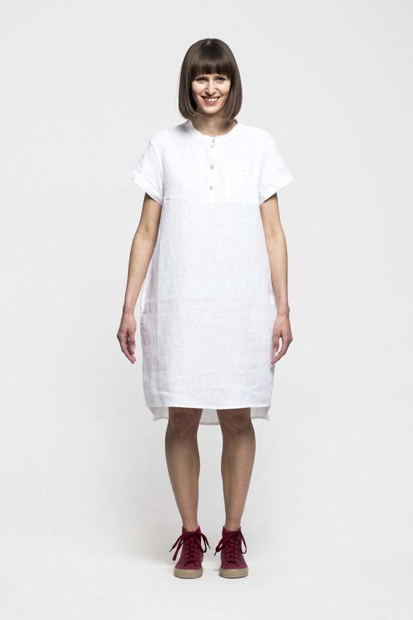 K.BANA — dámské letní šaty nad kolena — lněné — bílé