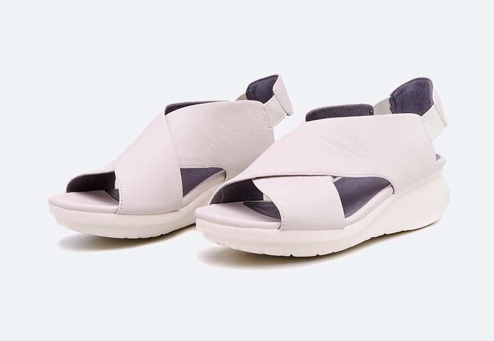Camper — Balloon — dámské sandály na platformě — letní — krémové — kožené