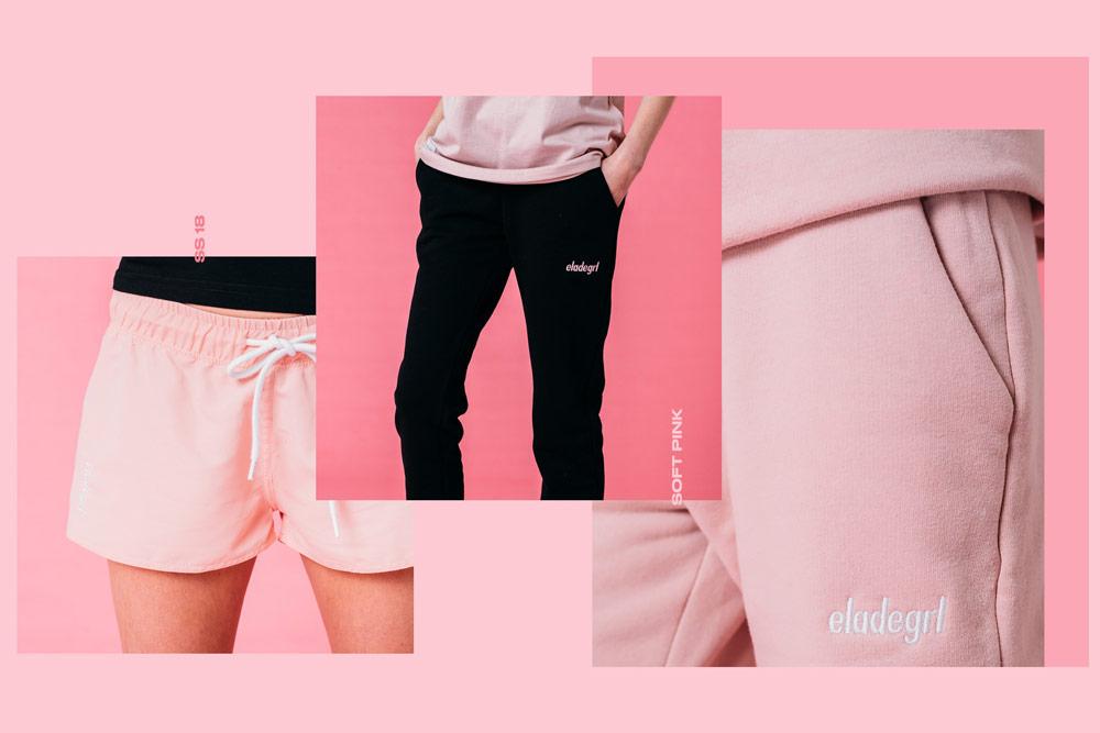 Elade Grl — dámské růžové kraťasy, tepláky — černé tepláky — streetwear fashion