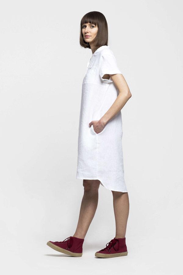 K.BANA — dámské letní lněné šaty nad kolena — bílé