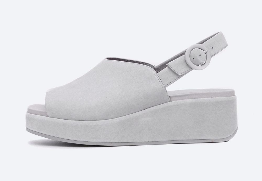 Camper — Misia — sandály na platformě — dámské — letní — šedé — kožené