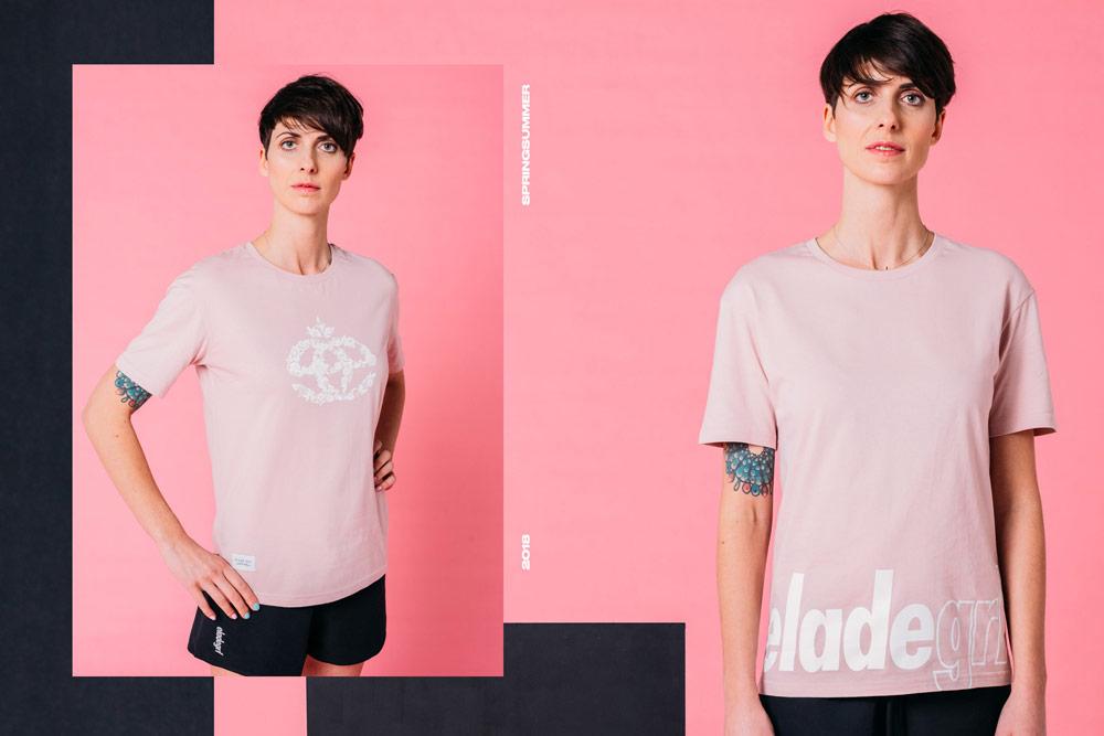 Elade Grl — dámské světlé růžové tričko — streetwear fashion