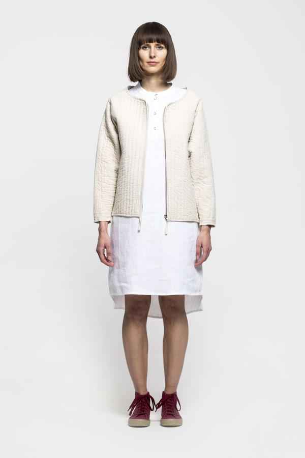 K.BANA — dámský lehce zateplený kabátek — smetanově bílý — lněný/bavlněný