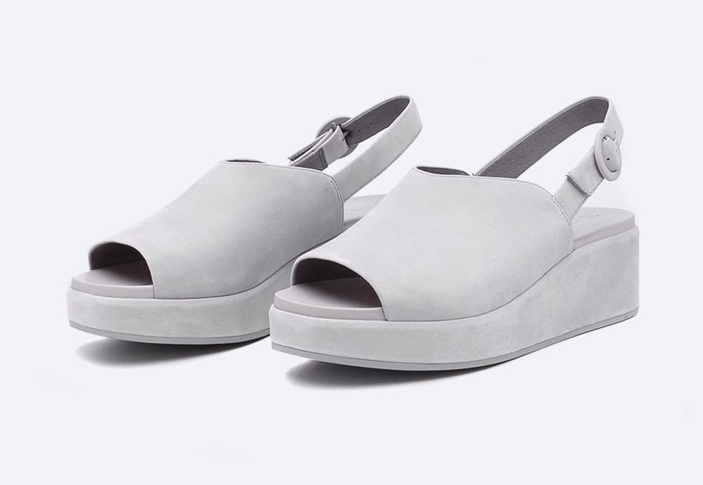 Camper — Misia — dámské sandály na platformě — letní — šedé — kožené
