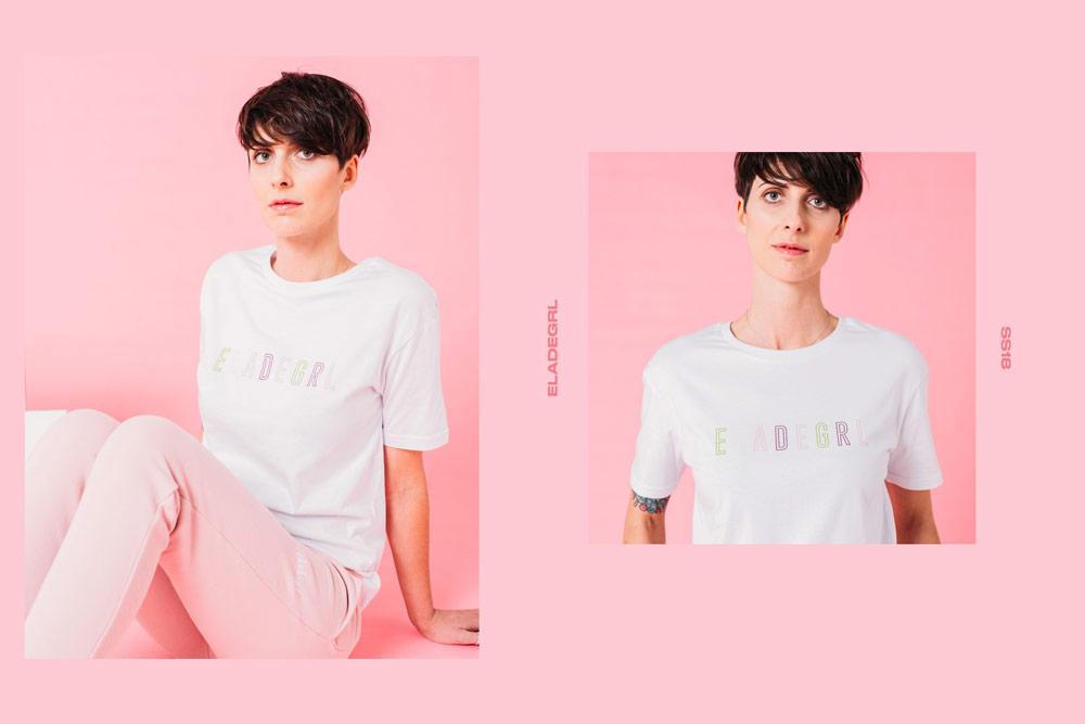 Elade Grl — dámské tričko — bílé — streetwear fashion