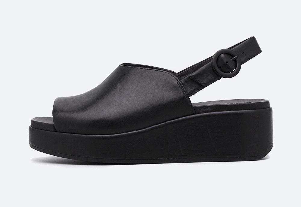 Camper — Misia — sandály na platformě — dámské — letní — černé — kožené