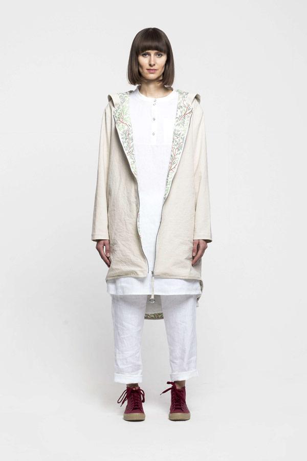 K.BANA — dámská parka s kapucí — lněná/bavlněná — smetanově bílá