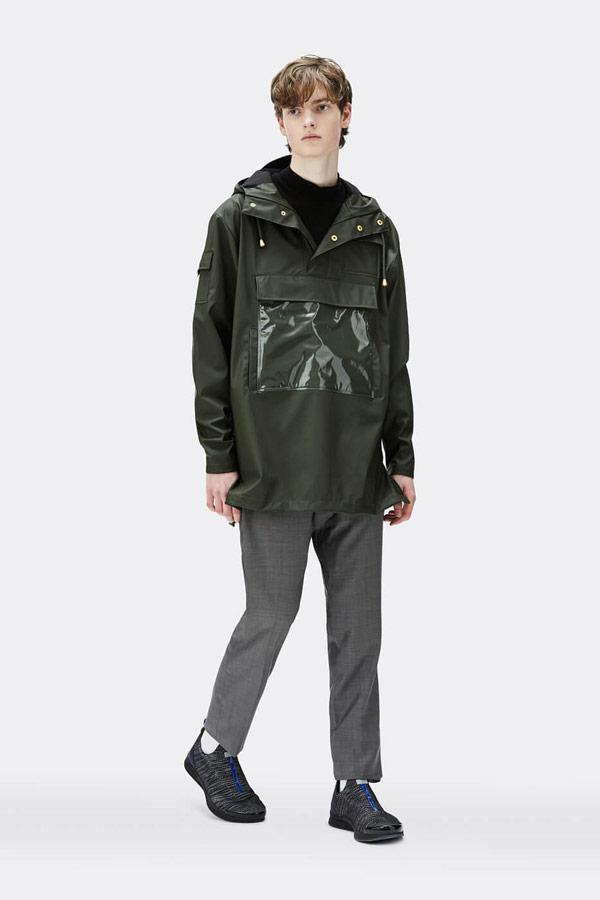 Rains — pánský anorak s kapucí — nepromokavý — černý — bunda bez zipu, přes hlavu — mens black anorak — Expressions