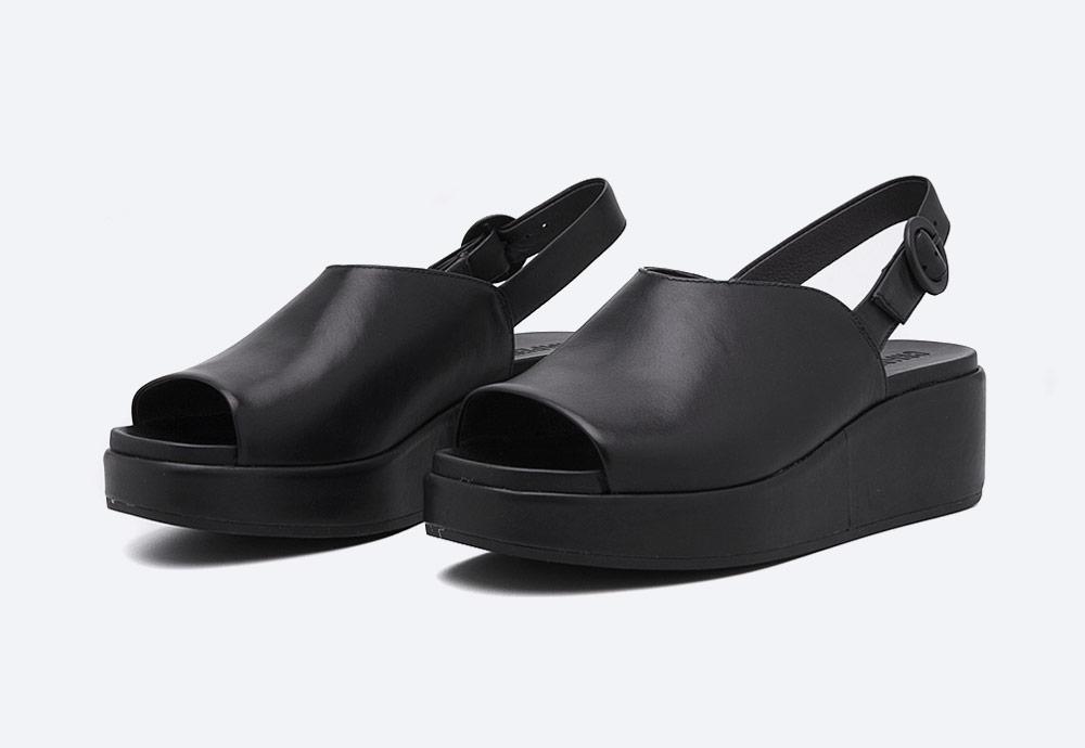 Camper — Misia — dámské sandály na platformě — letní — černé — kožené