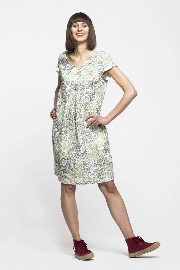 K.BANA — dámské letní šaty nad kolena ze lnu — zeleno-bílé — se vzorem, koruny stromů