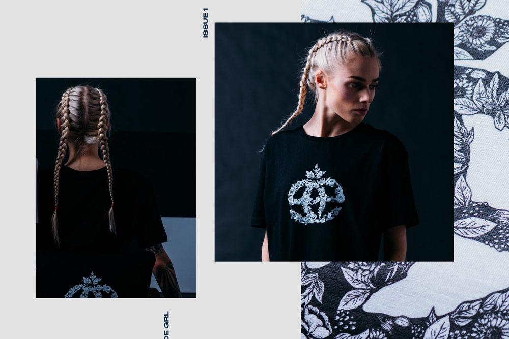 Elade Grl — dámské černé tričko s potiskem květin — streetwear fashion