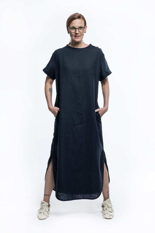K.BANA — dámské letní šaty nad kolena — lněné — tmavě modré