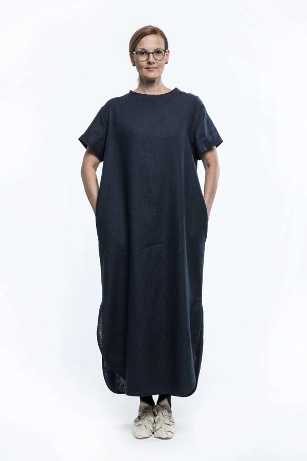 K.BANA — dámské letní šaty nad kolena ze lnu — tmavě modré