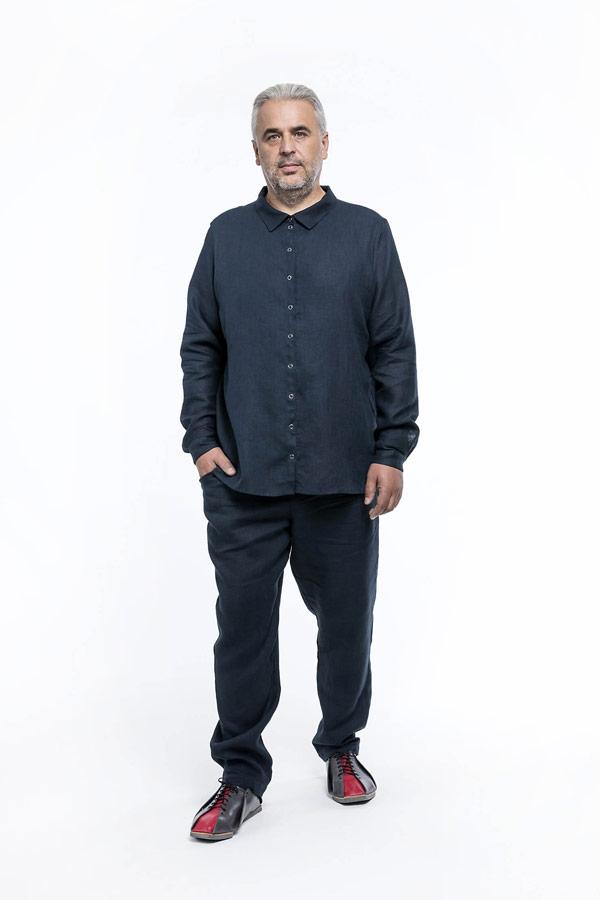 K.BANA — pánská tmavě modrá lněná košile s dlouhým rukávem — pánské tmavě modré lněné kalhoty
