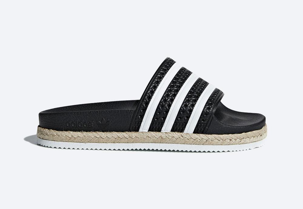 adidas Originals Adilette Bold — dámské černé pantofle na platformě