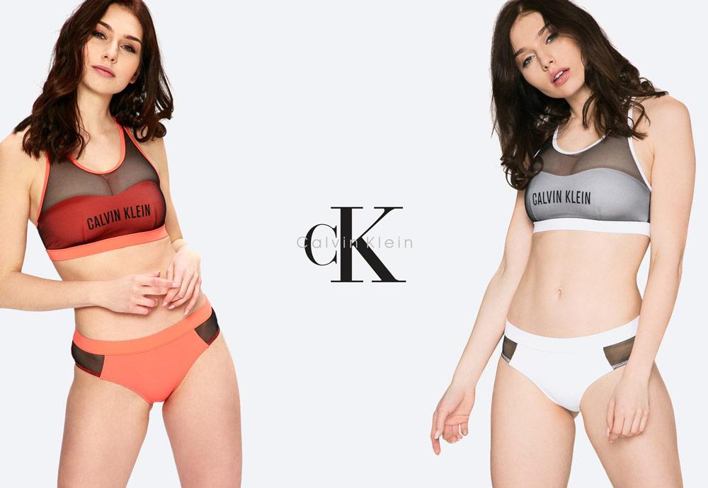 Calvin Klein — dámské plavky — dvoudílné — bikiny — sportovní — oranžové — bílé — push up