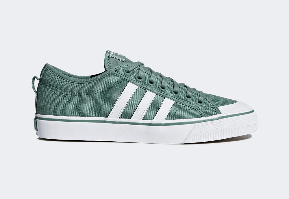 adidas Originals Nizza — plátěné tenisky — kecky — zelené — pánské — boty — sneakers