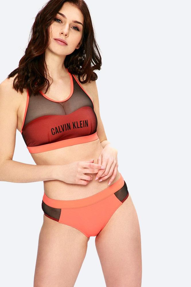 Calvin Klein — dámské plavky — dvoudílné — bikiny — sportovní — oranžové — push up