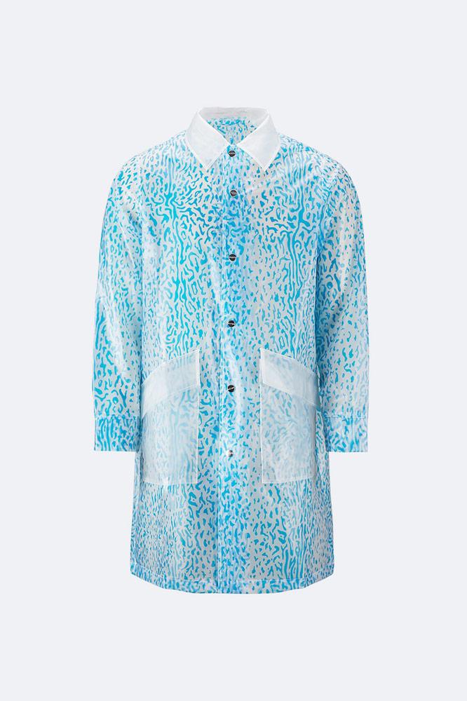 Rains x Opening Ceremony — pršiplášť bez kapuce s límcem — průhledný bílý s modrým vzorem — white/blue raincoat
