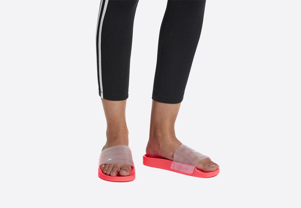 adidas Originals Adilette Lilo — dámské pantofle — letní nazouváky — růžové, červené, křiklavé — womens pink/red slides