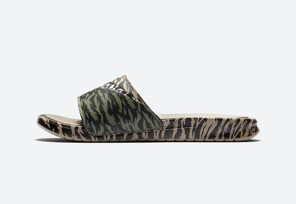 Nike Benassi Ultra — pánské pantofle — maskáčové — hnědé, khaki, zelené — nazouváky — mens camo slides