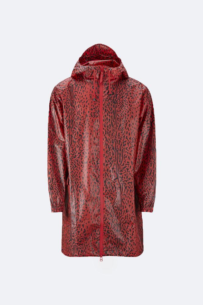 Rains x Opening Ceremony — pršiplášť s kapucí — červený s černým vzorem — red raincoat