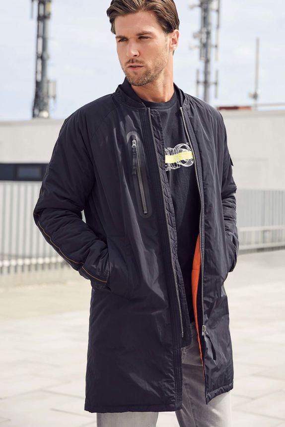 Bench — pánská dlouhá bunda bez kapuce — černá