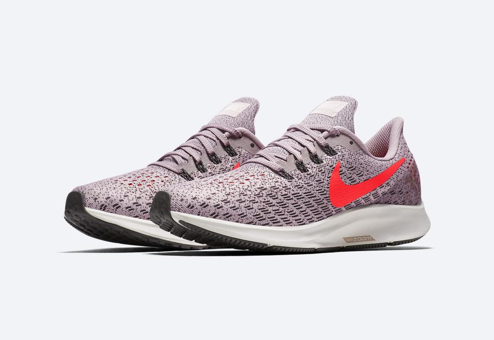 Nike Air Zoom Pegasus 35 — běžecké boty — dámské — růžové — oranžová Swoosh — running shoes