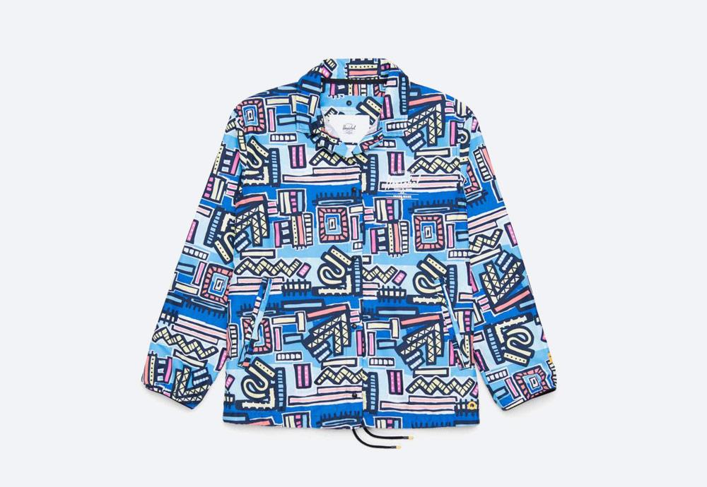 Herschel Supply x Hoffman — barevná bunda s límcem — Voyage Coach Jacket Womens