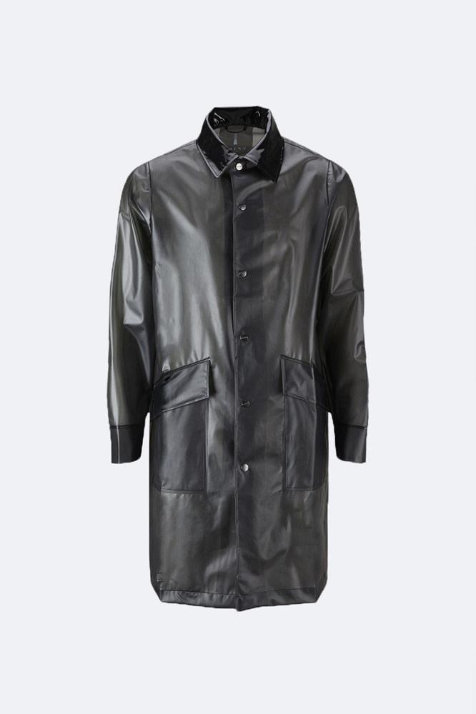 Rains x Opening Ceremony — černý pršiplášť bez kapuce s límcem — black raincoat
