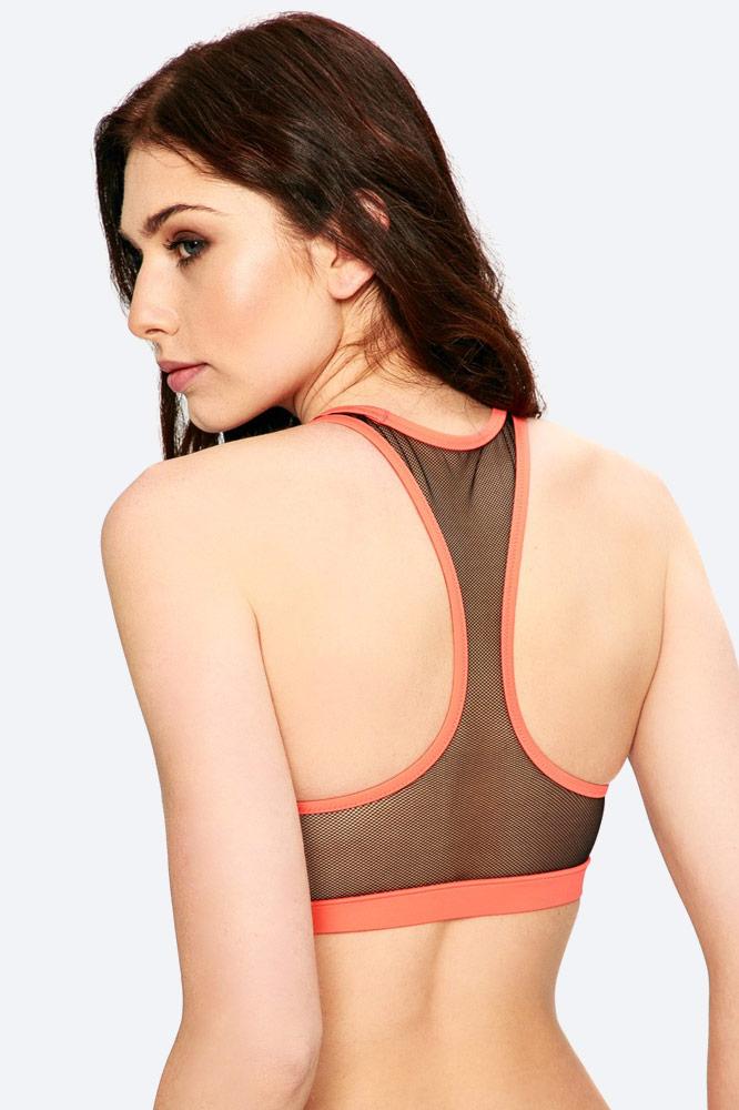 Calvin Klein — dámské plavky — dvoudílné — top — push up podprsenka — oranžová