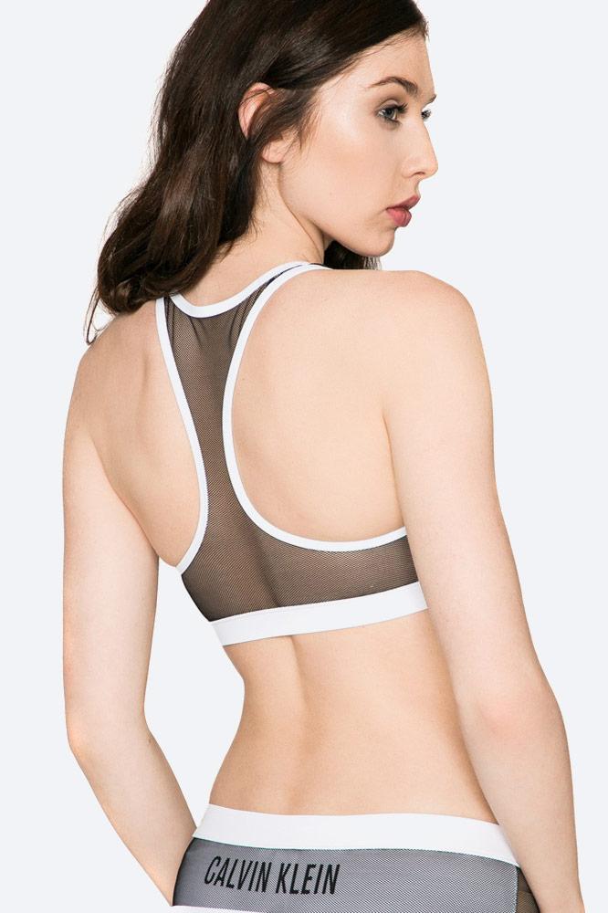 Calvin Klein — dámské plavky — dvoudílné — top — push up podprsenka — bílá