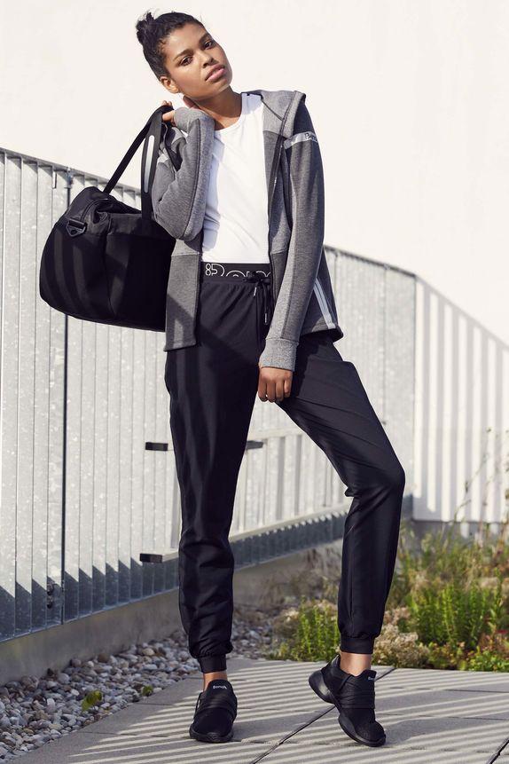 Bench — dámské černé tepláky — dámská šedá sportovní mikina na zip s kapucí