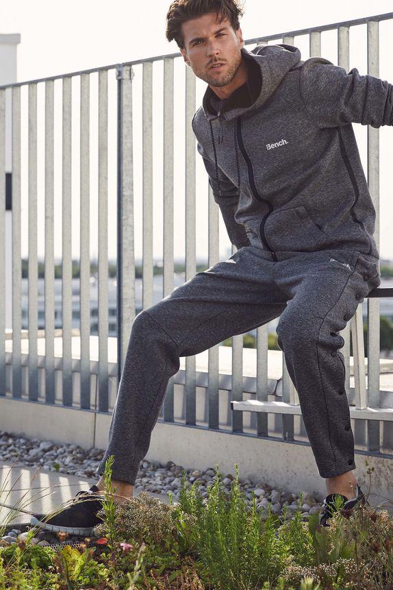 Bench — pánská sportovní mikina na zip s kapucí — šedé tepláky