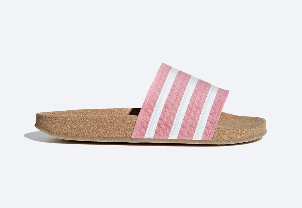 adidas Originals Adilette Cork — korkové pantofle — dámské — letní nazouváky — růžové, pastelové — womens cork pastel pink slides