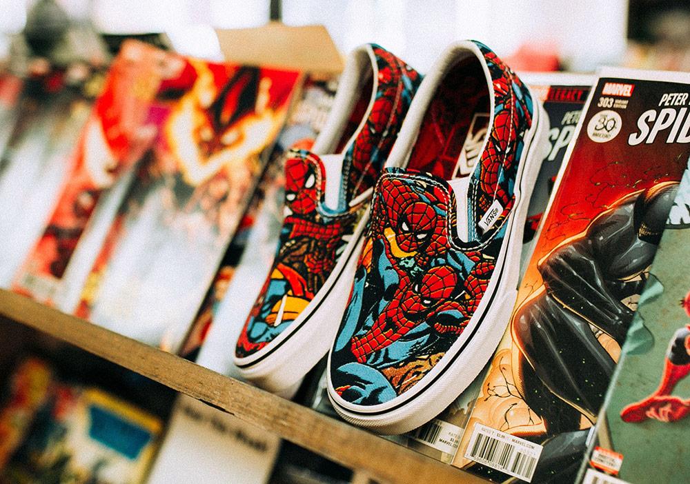 Vans x Marvel — Spiderman — Vans Slip-On — boty — barevné tenisky — pánské, dámské — sneakers