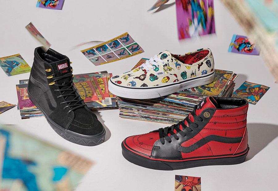 Vans x Marvel — kotníkové boty Sk8-Hi — tenisky Authentic — pánské, dámské — Avengers