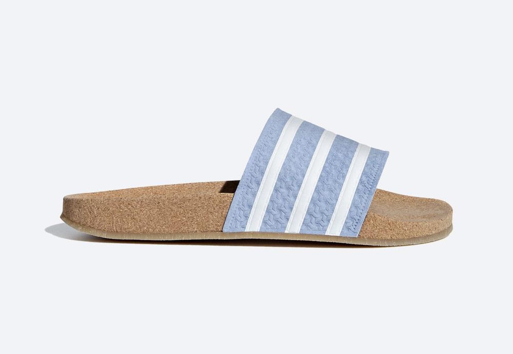 adidas Originals Adilette Cork — korkové pantofle — dámské — letní nazouváky — modré, pastelové — womens cork pastel blue slides