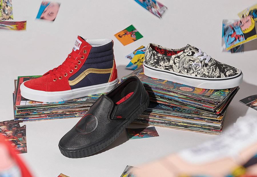 Vans x Marvel — kotníkové boty Sk8-Hi — tenisky Authentic — boty bez tkaniček Slip-On — Avengers